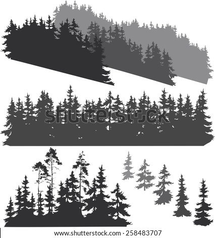 silhouettes of various woods and pine trees for your design, isolated objects - stock vector