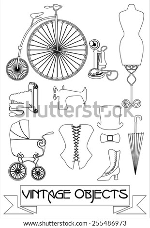 silhouettes of vintage objects, black and white vector illustration - stock vector