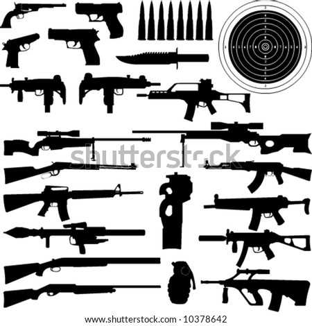silhouettes of weapons, guns, aims, bullets, granate and Knifes in very High detail - stock vector