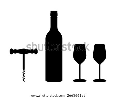 Silhouettes of wine bottle, wine glasses and corkscrew, vector - stock vector