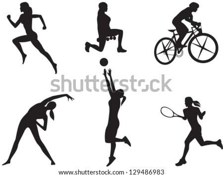 Silhouettes of women in different kinds of sport. Vector - stock vector