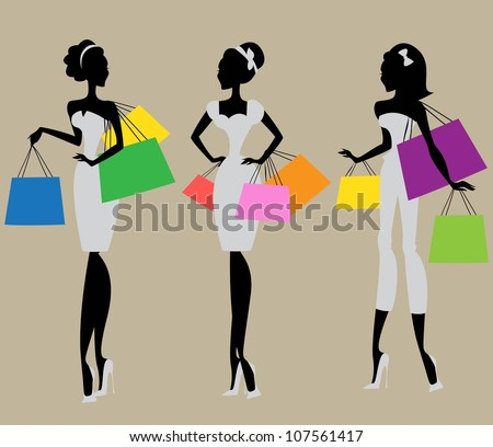 Silhouettes of 3 women with colorful shopping bags , vintage fashion of 1950s, 1960s - stock vector