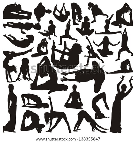 Silhouettes of yoga positions - stock vector