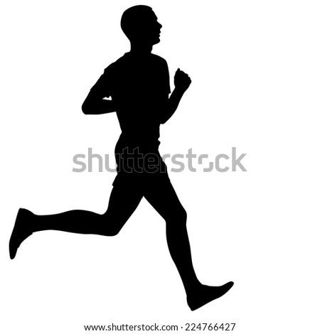 Silhouettes. Runners on sprint, men. vector illustration. - stock vector