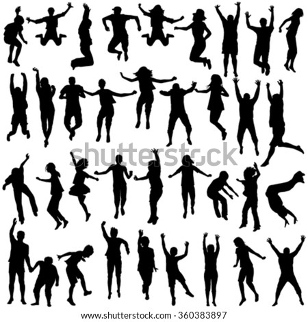 Silhouettes set of children and young people jumping - stock vector