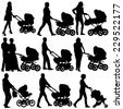 Silhouettes  walkings mothers with baby strollers. Vector illustration. - stock vector