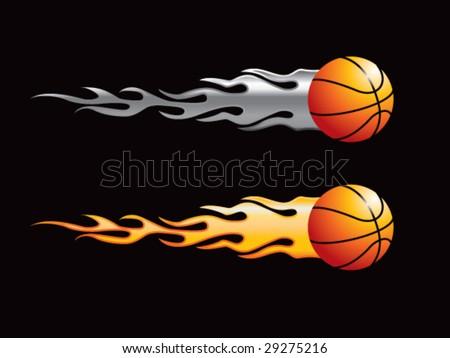 silver and gold flaming basketballs - stock vector