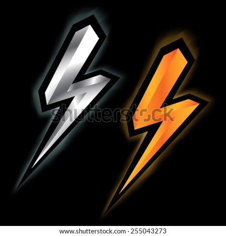 silver and gold lightning icon - stock vector