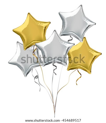 Silver and gold star shaped foil helium balloons. Detailed and realistic Vector illustration - stock vector