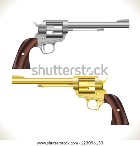 Silver and gold Vector Revolver Gun isolated on white - stock vector