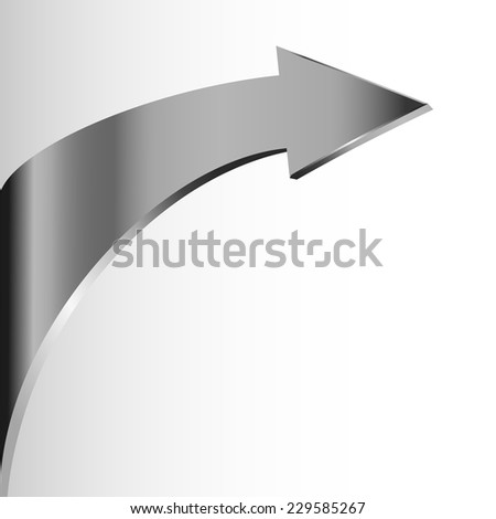 Silver arrow and white background - stock vector