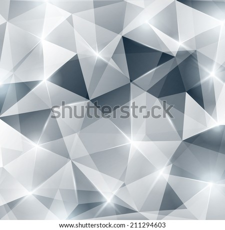 Silver background. Lights, sparkles. Vector illustration. Abstract polygonal backdrop. Beautiful geometric design for business presentations. Festive background for Christmas or New Year design. - stock vector