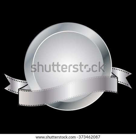 Silver Badge. Metal Badge Silver. Badge Retro Silver. Badge Silver Shape. Badge Silver Art. Badge Silver Ribbon. Badge Silver Vintage. Badge Silver Icon. Creative Silver Badge. Vector Silver Badge. - stock vector