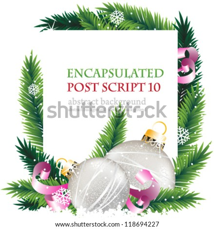 Silver baubles, pink ribbons and fir branches on a white background. Abstract Christmas  wreath - stock vector