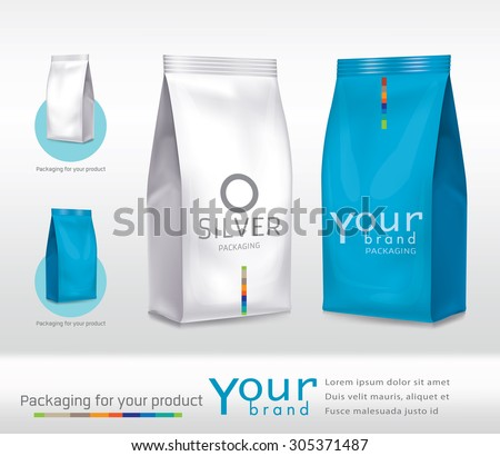 Silver-blue bag package on a white background - stock vector