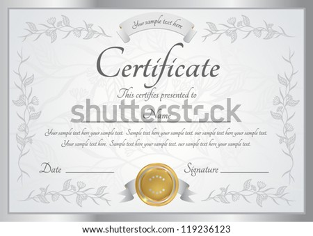 Silver certificate of completion template. Vector - stock vector