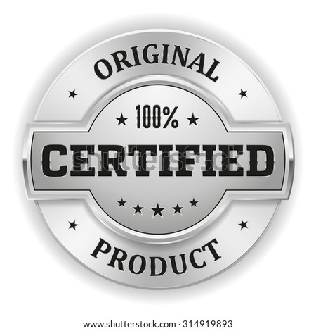 Silver certified product badge on white background - stock vector