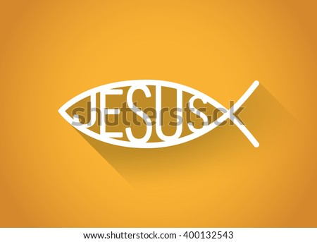 silver christian fish symbol in a flat design, illustration - stock vector