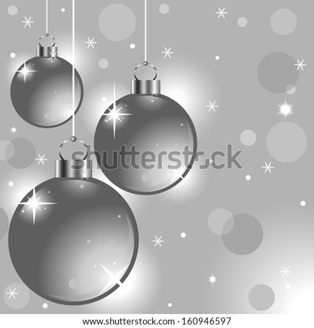 silver Christmas background with Christmas balls - stock vector