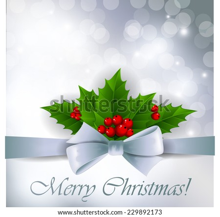 Silver Christmas background with holly - stock vector