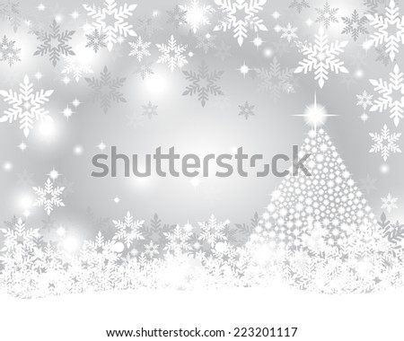 Silver Christmas background with shiny Christmas tree  - stock vector