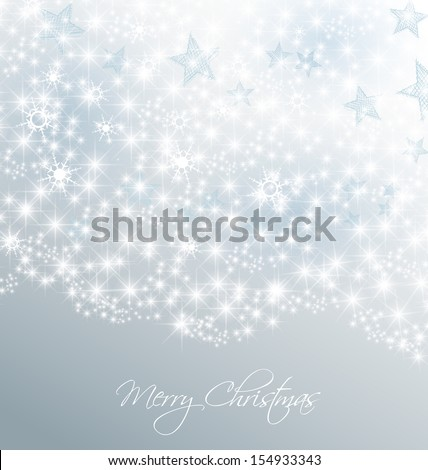 Silver christmas background with snow and stars - stock vector