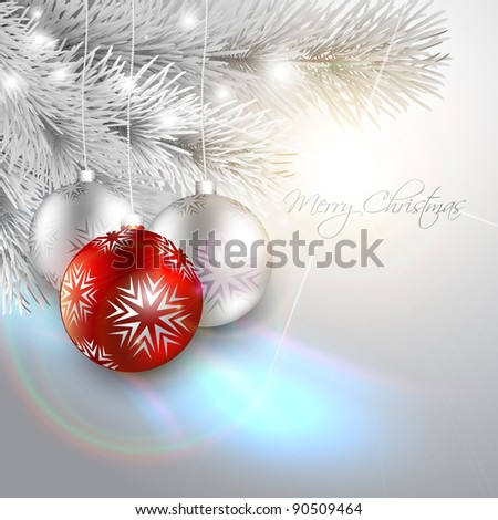 silver christmas background with space for your text - stock vector