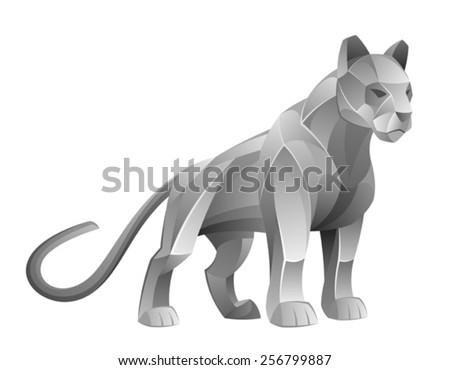 Silver cougar  - stock vector