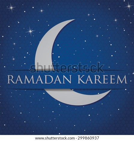 "Silver crescent moon ""Ramadan Kareem"" (Generous Ramadan) card in vector format. - stock vector"