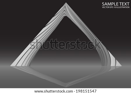 Silver curved shape reflected background illustration - Metal curved modern  design  template reflected - stock vector