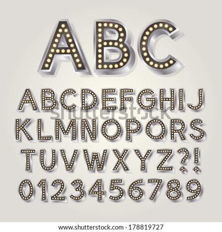 Silver 3D Broadway Alphabet and Numbers, Eps 10 Vector Editable - stock vector