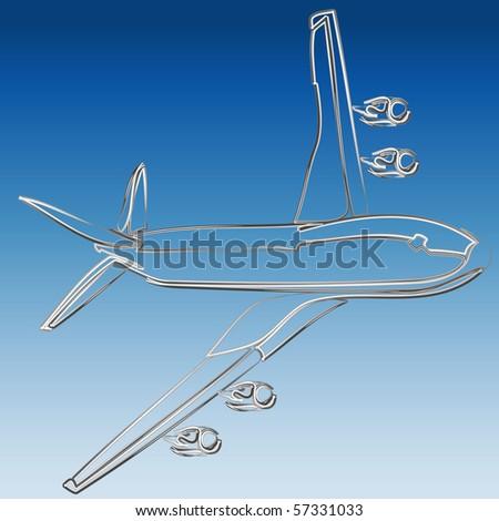 Silver 3D outline of jet illustration vector - stock vector