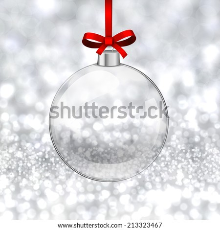 Silver defocused background. Bright bokeh. Glass ball. Vector.  - stock vector