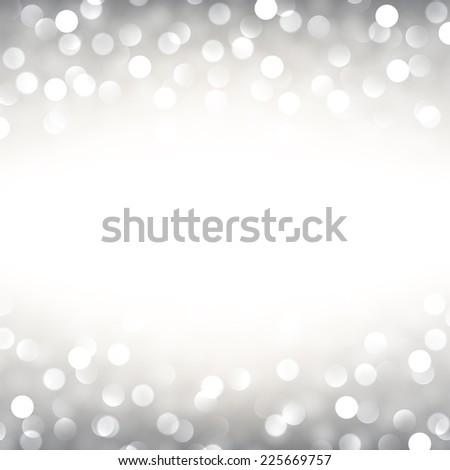 Silver defocused christmas background. Bright bokeh. Vector illustration. - stock vector