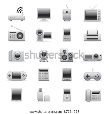 silver electronic icons - stock vector