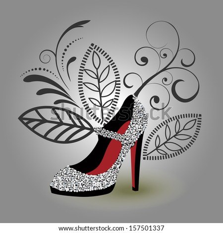 Silver encrusted glamor shoe - stock vector