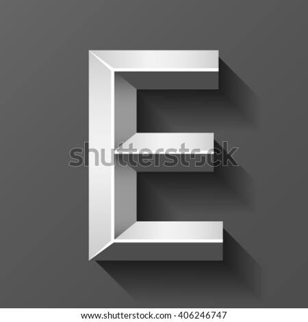 Silver font with bevel, letter E vector - stock vector