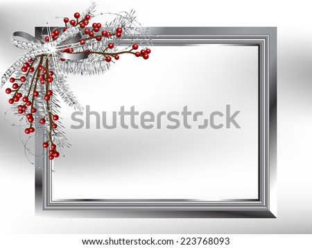Silver garland with bow and needles in the frame - stock vector