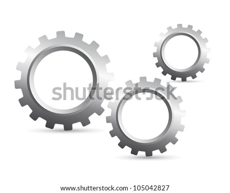 silver gears with shadow over white background. vector illustration - stock vector