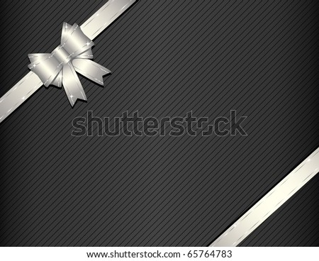 Silver gift ribbon with gift paper - stock vector