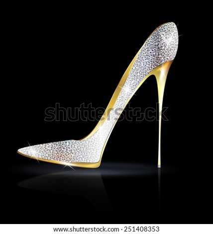 silver golden shoe - stock vector
