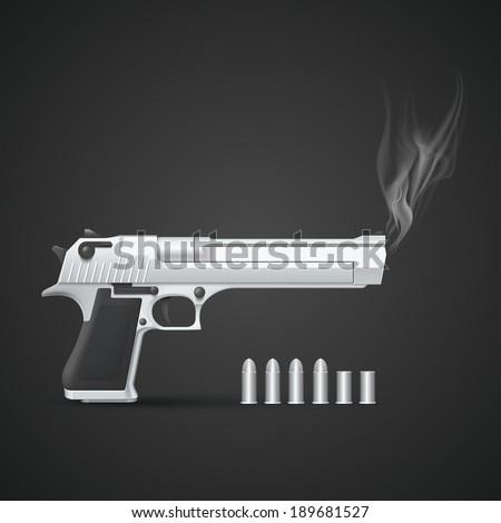 Silver gun with smoke. Vector illustration - stock vector