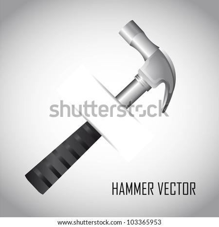 silver hammer over gray background. vector illustration - stock vector