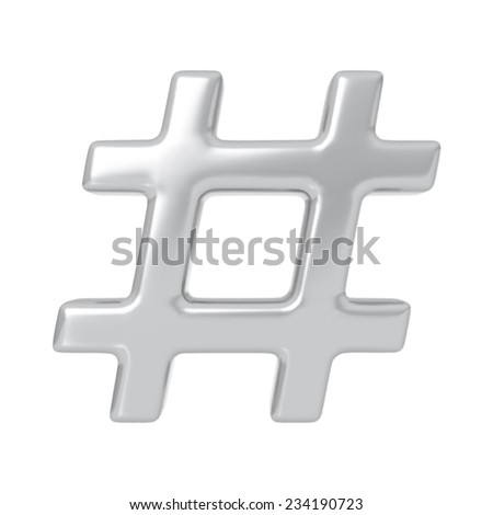 Silver hashtag. Highly detailed vector illustration. - stock vector
