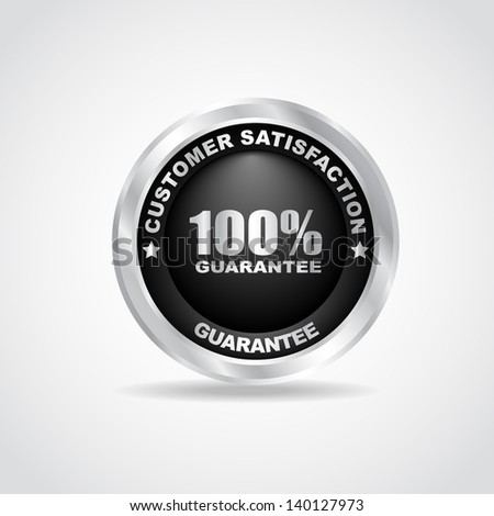 Silver label. Best choice. 100% guarantee. Vector illustration - stock vector