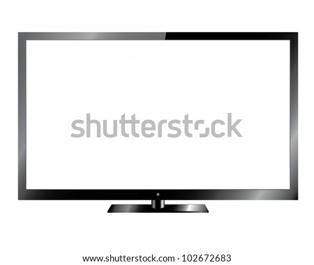 Silver Led or Lcd TV  - Vector Design EPS10 - stock vector