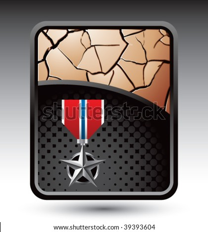 silver medal on bronze cracked backdrop - stock vector