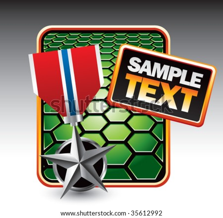 silver medal on green hexagon banner - stock vector