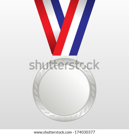 Silver medal winners on the tape. vector illustration - stock vector