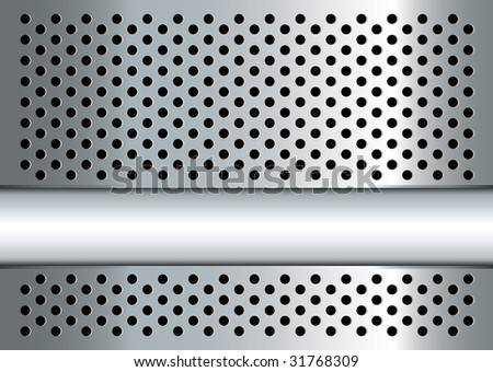 Silver metal background with perforated holes and copy space - stock vector
